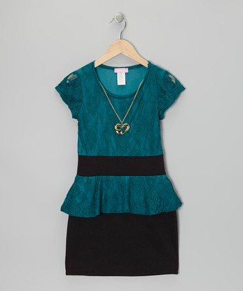 Teal & Black Lace Peplum Dress