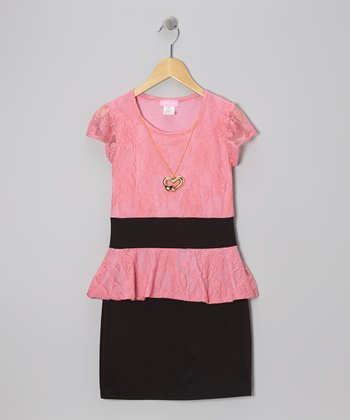 Dusty Rose & Black Lace Peplum Dress