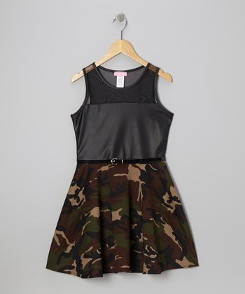 Black Camo Mesh Techno Dress