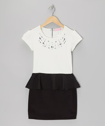 Cream & Black Rhinestone Peplum Dress