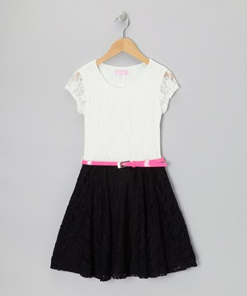 Cream & Black Color Block Lace Skater Dress