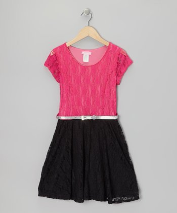 Fuchsia & Black Color Block Lace Skater Dress