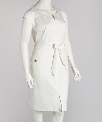 Ivory Cap-Sleeve Dress - Plus