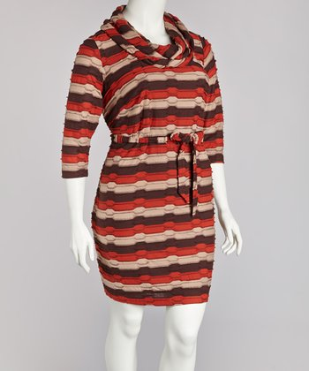 Paprika & Chocolate Cowl Neck Dress - Plus