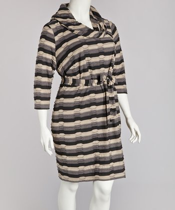 Black & Tan Cowl Neck Dress - Plus