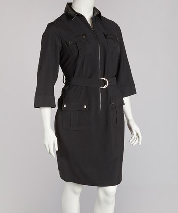 Black Zip-Front Belted Shirt Dress - Plus