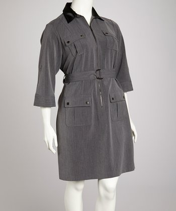 Charcoal & Black Zip-Front Belted Shirt Dress - Plus