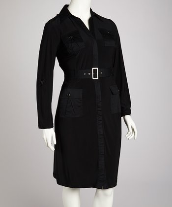 Black Epaulette Shirt Dress - Plus