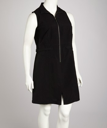 Black Zipper Sleeveless Dress - Plus