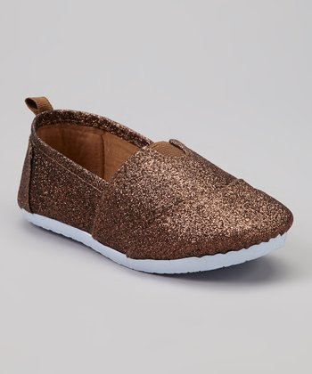 Bronze Glitter Slip-On Sneaker