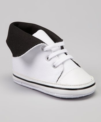 White & Black Fold-Over Hi-Top Sneaker
