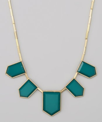 Green & Gold Enamel Necklace