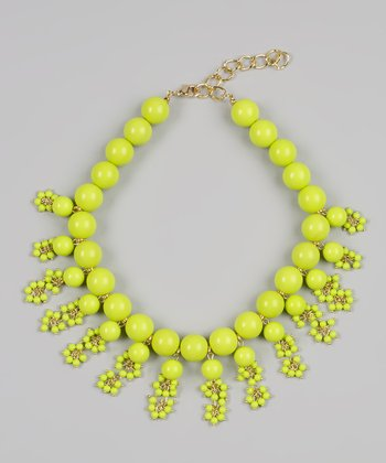 Lime Bubble Bib Necklace
