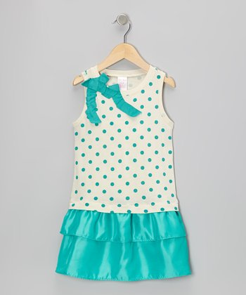 Aqua Polka Dot Drop-Waist Dress - Toddler & Girls