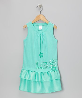 Aqua 'Love' Drop-Waist Dress - Toddler & Girls