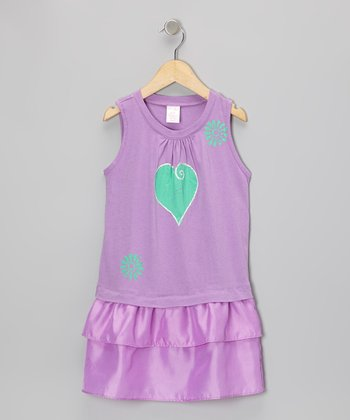 Lilac Heart Drop-Waist Dress - Toddler & Girls