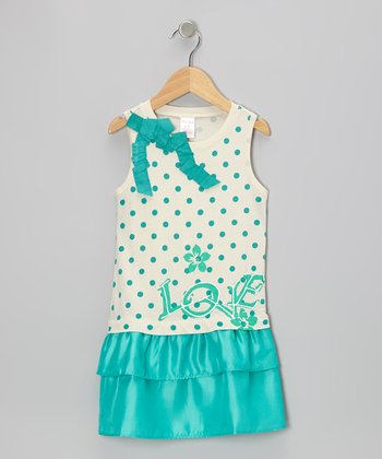 Aqua Polka Dot 'Love' Drop-Waist Dress - Toddler & Girls