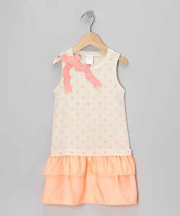 Orange Polka Dot Drop-Waist Dress - Toddler & Girls