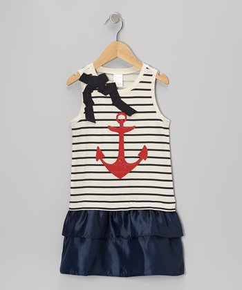 Navy Stripe Anchor Drop-Waist Dress - Toddler & Girls