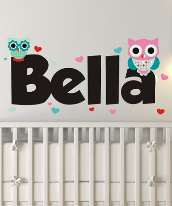 Heart Owls Personalized Wall Decal