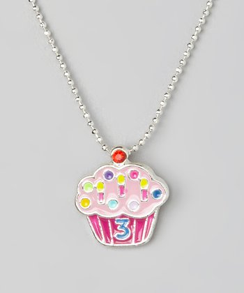 Pink '3' Cupcake Pendant Necklace