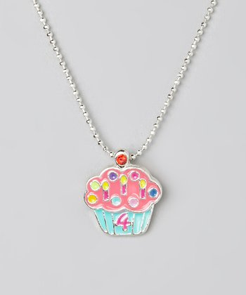 Pink '4' Cupcake Pendant Necklace