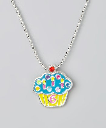 Blue '6' Cupcake Pendant Necklace