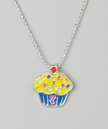 Yellow '7' Cupcake Pendant Necklace