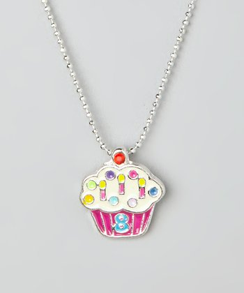 Pink '8' Cupcake Pendant Necklace