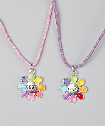 Rainbow Flower 'Best Friend' Necklace Set