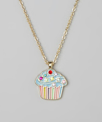 Blue Cupcake Pendant Necklace