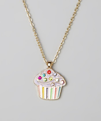 Purple Cupcake Pendant Necklace