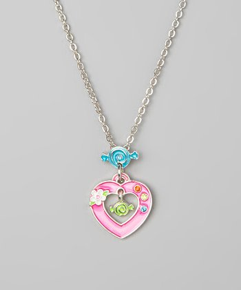Pink Heart Candy Pendant Necklace