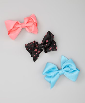 Pink, Blue & Black Star Bow Clip Set