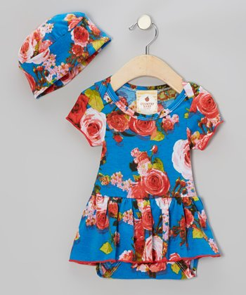 French Bleu Roses Skirted Bodysuit & Beanie - Infant