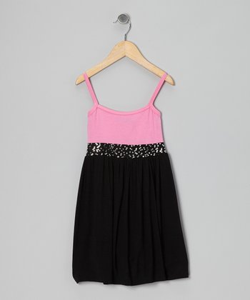 Pink & Black Sequin Dress