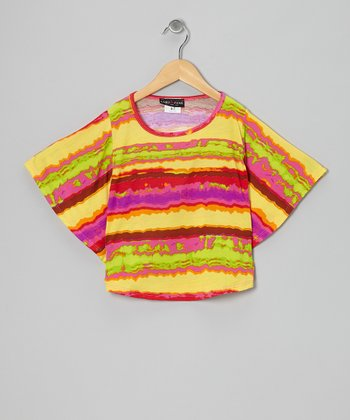 Yellow & Pink Stripe Cape-Sleeve Tee