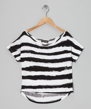 Black & White Stripe Dolman Tee