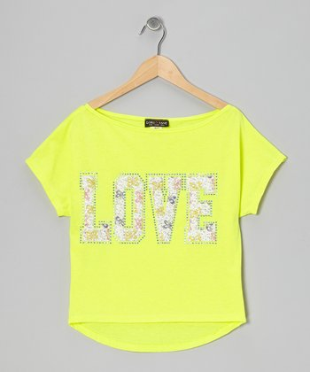 Yellow 'Love' Hi-Low Tee