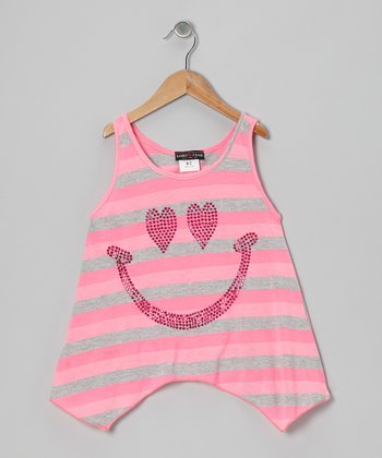 Gray & Pink Stripe Smiley Face Sidetail Tank