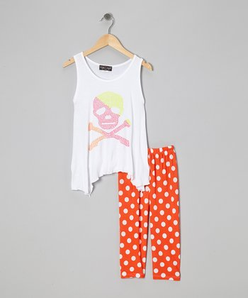 White & Pink Skull Tank & Polka Dot Leggings