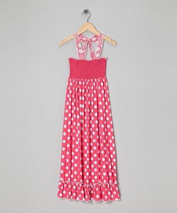 Rated G Hot Pink Polka Dot Maxi Dress