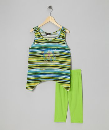 Green Stripe Sidetail Tank & Leggings