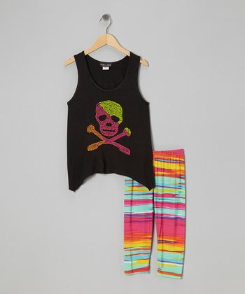 Gray & Rainbow Skull Sidetail Tank & Leggings