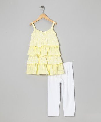 Yellow Ruffle Tunic & White Leggings - Toddler & Girls