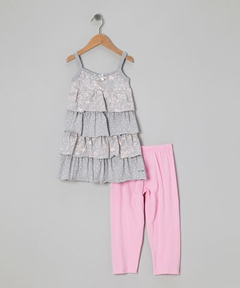 Gray Ruffle Tunic & Pink Leggings - Toddler & Girls