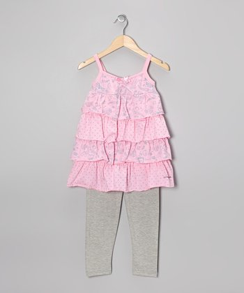 Pink Ruffle Tunic & Gray Leggings - Toddler & Girls