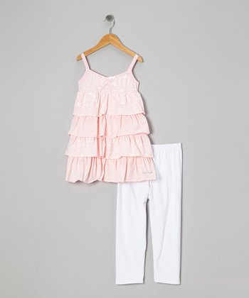 Pink Ruffle Tunic & White Leggings - Toddler & Girls