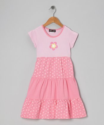 Pink Polka Dot Flower Tiered Dress - Girls