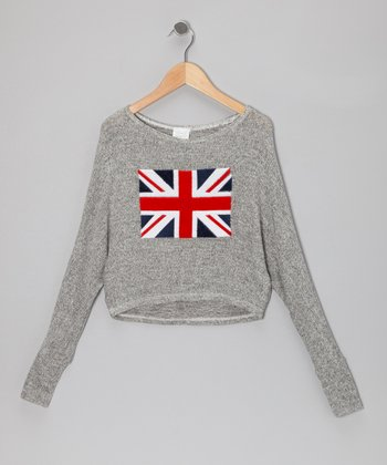 Gray Union Jack Cropped Sweater
